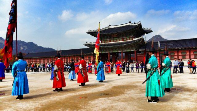 Cambio de guardia en el Palacio imperial Gyeongbokgung. Bellísimo momento
